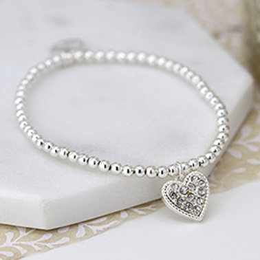 Pom silver plated bracelet with crystal inset heart