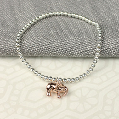 Pom silver plated bead bracelet with rose gold elephant