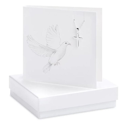 Crumble and core dove cross boxed necklace card