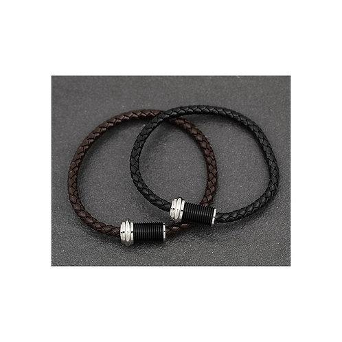 Mens Genuine Leather Black Bracelet