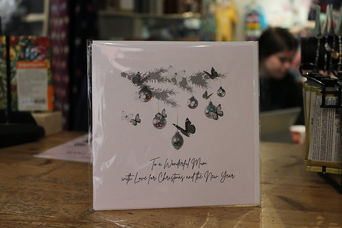 'To a Wonderful Mum with Love for' Pine Branch Christmas Card