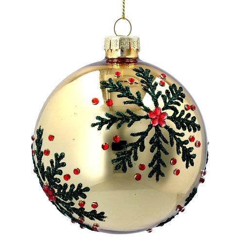 Gisela Graham Snowflake Gold Holly Christmas Bauble