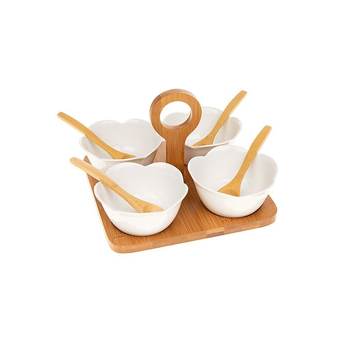 Set of 4 Shaped Bowls with Wooden Spoons and Tray