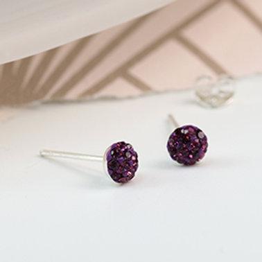 Pom sterling silver Amethyst crystal shamballa earrings