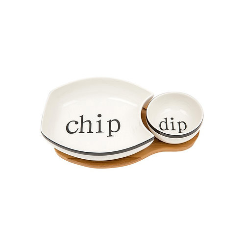 Chip and Dip Bowls on a Wooden Stand