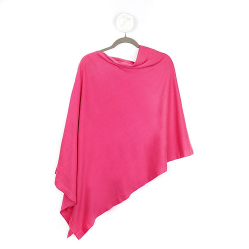 Pom fine knit cotton poncho in pink