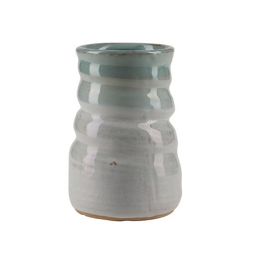 Bahne blue and grey wobbly ceramic glazed vase