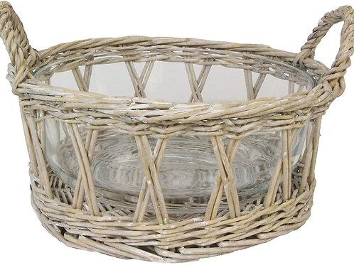 Gisela Graham Weave Basket and Glass Bowl - Medium/Large