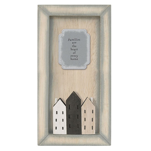 East of india 'families are the heart' wooden frame