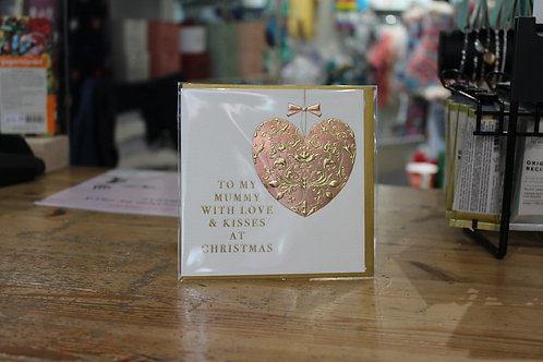 'To my Mummy with Love & Kisses at Christmas' Gold Heart Christmas Card