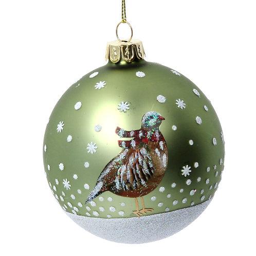 Gisela Graham Green Bird Christmas Bauble
