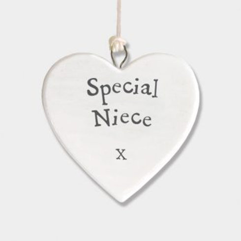 East of india 'special niece' porcelain hanging small heart