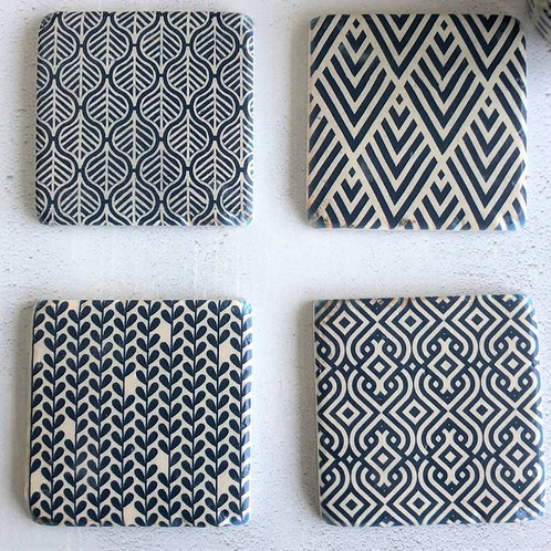 Gisela Graham Set of 4 Blue and White Patterned Tile Coasters