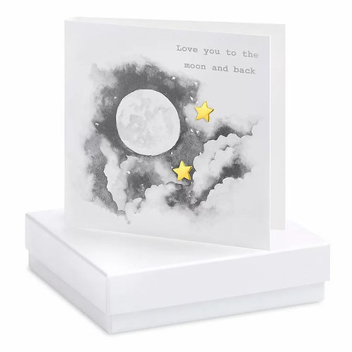 Crumble and core 'love you to the moon and back' boxed earring card