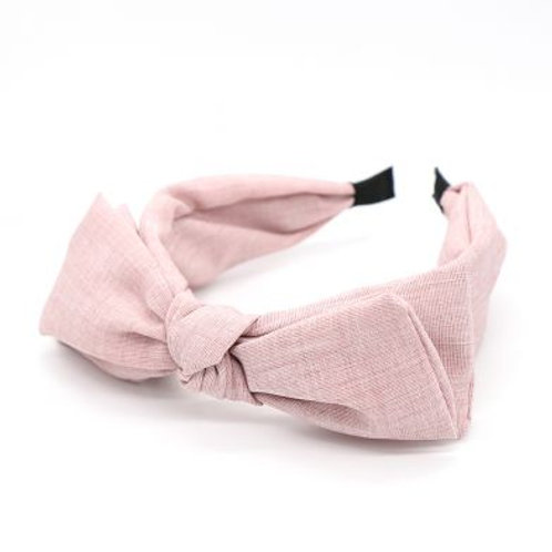 Pom large bow headband in blush pink