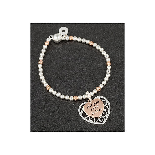 Equilibrium 'all you need is love' silver/rose gold plated bracelet