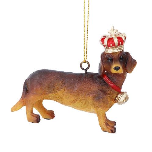 Gisela Graham Crowned Sausage Dog Christmas Decoration