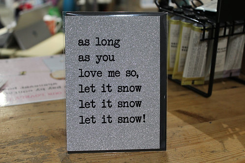 'As Long as you Love me So' Silver Glitter Romantic Christmas Card