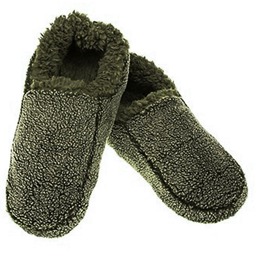 Snoozies Fuzzy Slippers - Grey and Green Two-Tone