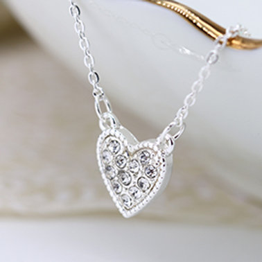 Pom silver plated necklace with crystal inset heart