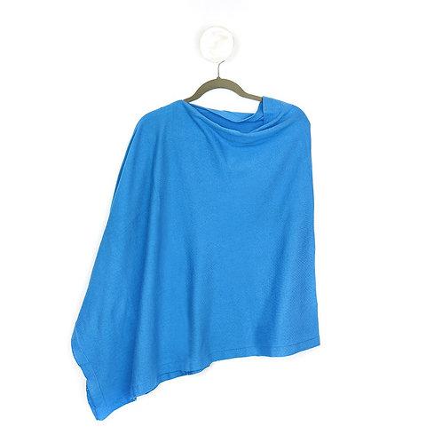Pom fine knit cotton poncho in blue