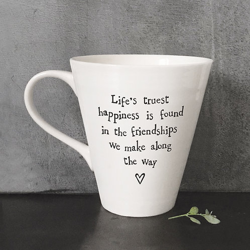 East of india 'life's truest happiness' porcelain boxed mug