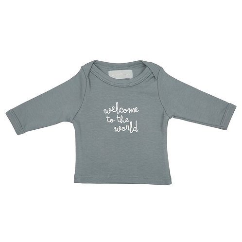 Bob and blossom 'welcome to the world' slate grey baby t-shirt 0-6 months