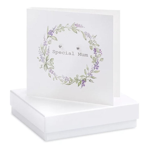 Crumble and core 'special mum' boxed earring card