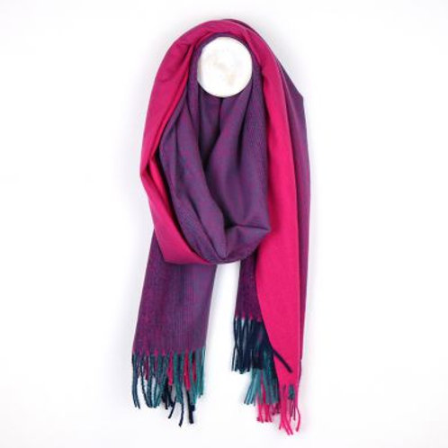 Pom Pink to purple ombre winter fringed scarf