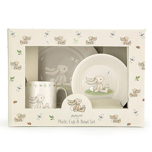 Jellycat bashful bunny plate, cup and bowl set