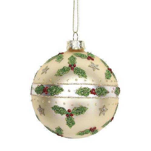 Gisela Graham Gold Holly Christmas Bauble