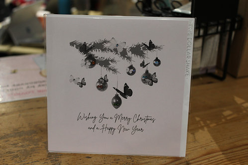 Five Dollar Shake 'Butterfly Pine Branch' Christmas Card