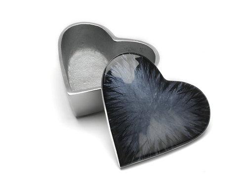 Azeti recycled aluminium brushed black mini heart pot