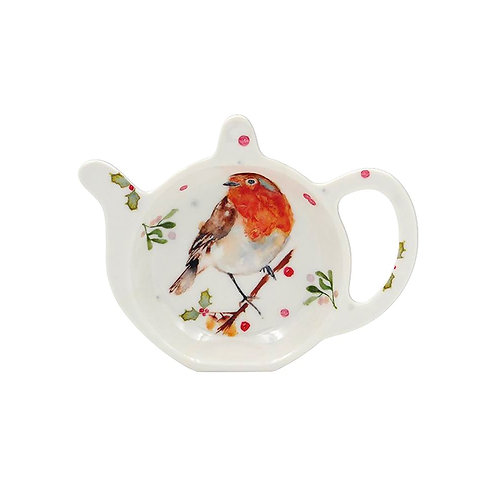 Winter Robin Tea-Pot Shaped Tea bag dish