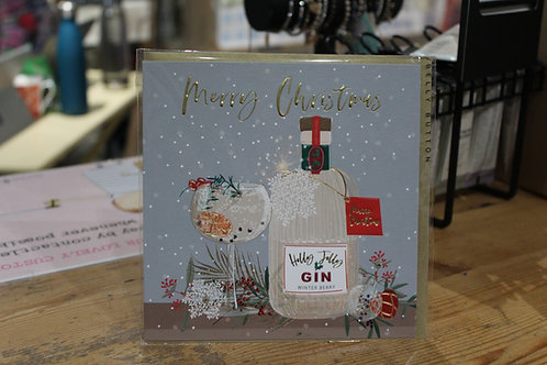 Belly Button 'Merry Christmas' Gin Bottle Christmas Card