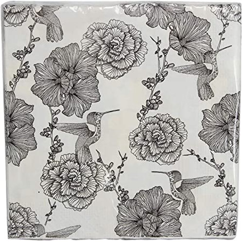 Gisela Graham 20 White Floral with Humming Bird Napkins