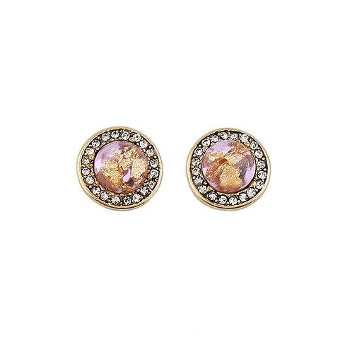Last true angel gemstone round earrings