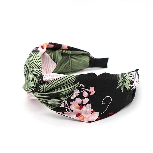 Pom black botanical print headband