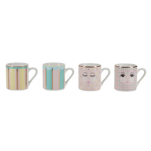 Miss Etoile set of 4 esspresso mugs in bubblegum design