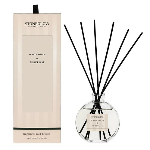 Stoneglow Modern Classic white musk and tuberose Reed Diffuser, 120ml