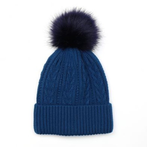Pom Blue Faux Fur Cable Knit Bobble Hat