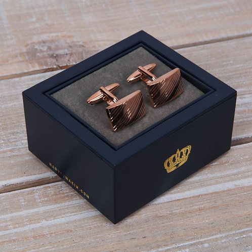 Harvey Makin rose rold rectangle cuff links with adjustable display box