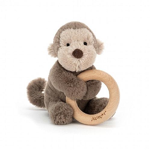 Jellycat Shooshu monkey wooden toy ring