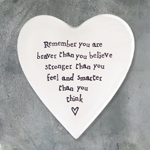 East of india 'remember you are braver' porcelain boxed heart coaster