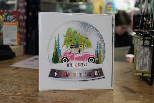 'To a Wonderful Mum with Love' Pink Car Christmas Card