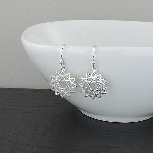 Jambo jewellery sterling silver heart chakra earrings