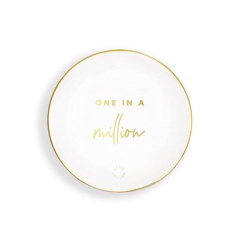 Katie loxton 'one in a million' round white trinket dish