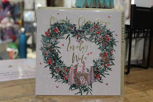 'Merry Christmas Lovely Wife' Deer Wreath Spouse Christmas Card