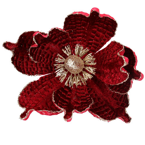 Gisela Graham Red and Gold Flower Christmas Decoration