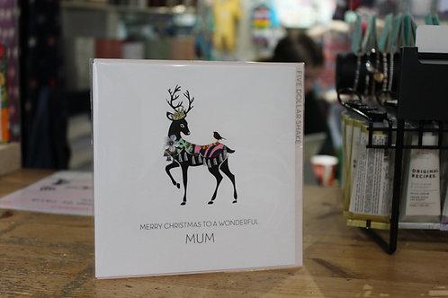 'Merry Christmas To a Wonderful Mum' Deer Christmas Card